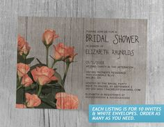 Rustic Sweetheart Roses Bridal Shower Invitations
