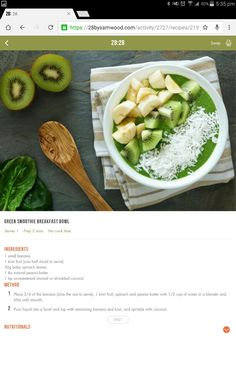 Green smoothie bowl Food N, Good Food, Food And Drink, Green Breakfast Smoothie, Smoothie Bowl, Smoothies, Diet Recipes, Cooking Recipes, Healthy Recipes