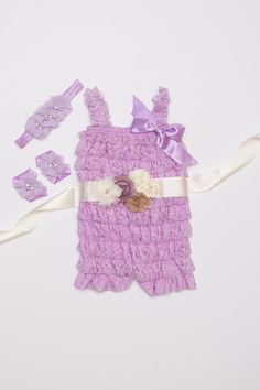 Lavender Lace Romper set Birthday Outfit Lace baby by BabyBouteek