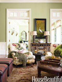 "Awesome Soft Avocado Green Space…In the family room of a Palm Beach Home, designer Allison Paladino painted the walls Benjamin Moore's Lewiville Green — the color of ""a very ripe avocado. Green Family Rooms, Family Room Walls, Living Room Green, Green Rooms, Family Room Design, Living Room Colors, My Living Room, Living Room Designs, Green Painted Rooms"