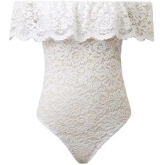 White Off Shoulder Ruffle Sheer Lace Bodysuit (85 BRL) ❤ liked on Polyvore featuring intimates, shapewear, bodysuits, tops, bodies, dresses and t-shirts