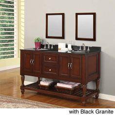 Direct Vanity Sink 60-inch Mission Turnleg Dark Brown Double Sink Vanity (black granite with 2 mirrors), Size Double Vanities