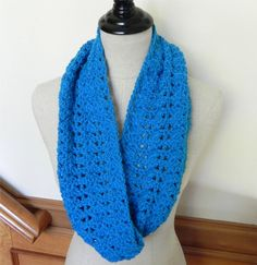 True blue crocheted infinity scarf Crochet cowl scarf Free cute cotton gift bag included Ready to Ship Crochet scarf #496