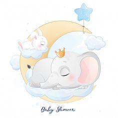 Elephant Art, Little Elephant, Cute Elephant, Baby Shower Cards, Baby Boy Shower, Bebe Vector, Animals Watercolor, Little Girl Ballerina, Boat Cartoon