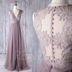 2017 Dusty Thistle Mesh Bridesmaid Dress, Deep V Neck Wedding Dress, Long Maxi Dress, A Line Prom Dress, Lace Back Evening Gown (LS172) by RenzRags on Etsy https://www.etsy.com/listing/460589832/2017-dusty-thistle-mesh-bridesmaid-dress