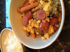 Stir-fry veggies, sausage and egg