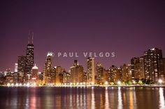 Image Chicago Skyline At Night Photo Large Canvas Print Buy Stock Metal Wall Art High Resolution