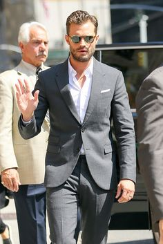 Jamie Dornan @ Stephen Colbert Late Show taping...via Jamie Dornan Life: Confirmed by Jamie's stylist, he wore: Neil Barrett Suit, Tod's brogues and OP sunglasses.