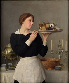 """The Waitress,"" William Mcgregor Paxton, 1923, oil on canvas"
