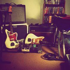 Fender Jazzmaster, Jaguar and Vox amp..
