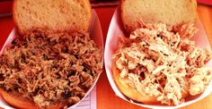Unsauced pulled pork and pulled chicken sandwiches. Pulled Chicken Sandwiches, Smoke Bbq, Grits, Pulled Pork, Fried Rice, Vegan Vegetarian, Catering, Charleston Sc, Ethnic Recipes