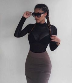 French braids (or goddess braids) with black bra topped with a long sleeve black sheer mesh net top. Paired with taupe? Gray? body con form fitting skirt.     // Pinned on @benitathediva, DIY fashion inspiration & LifeSTYLE Blog