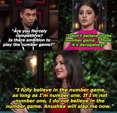 """19 Hilarious Moments From Katrina Kaif And Anushka Sharma's """"Koffee With Karan"""" Episode Latest Funny Jokes, Bollywood Funny, Koffee With Karan, Karan Johar, Number Games, Girl Thinking, Stand Up Comedians, A Dime, Television Program"""