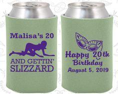 20th Birthday, 20th Birthday Party, Mardi Gras Birthday, Happy Birthday Party, Stripper, Birthday Can Coolers, Birthday Coolies (20084)