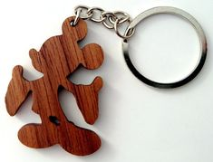 Wooden Mickey Mouse Keychain Walnut Wood Cartoon by PongiWorks Wooden Keychain, Diy Keychain, Wood Burning Patterns, Wood Patterns, Mickey Mouse, Wood Jig, Wooden Key Holder, Whittling Wood, Old Picture Frames