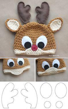 Crochet Child Hats Rudolph The Reindeer Free Crochet Hat Sample – DIY Crochet Baby Hats Bonnet Crochet, Crochet Diy, Crochet Baby Hats, Crochet For Kids, Crochet Crafts, Crochet Slippers, Funny Crochet, Crochet Crown, Crocheted Hats