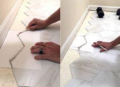 Tile Over Tile, Bathroom Floor Tiles, Tile Bathrooms, Bathroom Gray, Bathroom Bath, Modern Bathroom, Bathroom Ideas, Peel And Stick Floor, Peel And Stick Vinyl