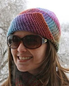 Free knitting pattern for Mochi Plus Spiral Hat - Designed by Sandi Rosner at Crystal Palace Yarns for Mochi Plus yarn, this hat can has two types of folded brims and is fun to knit with its unusual spiral assembly. The sizing is for an average woman, but tips for making child size and extra large are included. Great for multi-color yarn! Pictured project by sheilamae