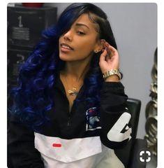 Yolissa Hair and Blue Ombre Brazilian Hair Human Hair Bundles Sew In Hairstyles, Pretty Hairstyles, Curly Hair Styles, Natural Hair Styles, Ombré Hair, Wave Hair, Hair Wigs, Birthday Hair, Dip Dyed Hair