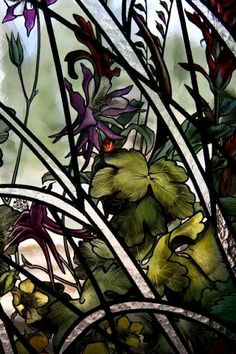Stained glass painter Indre McCraw of New York, NY shares a gorgeous painted detail from a window project w/ Collins Architectural Glass in 2012