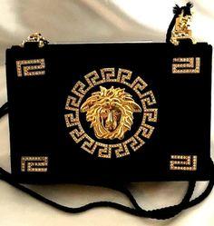 3e1552e9471f Vintage Gianni Versace Rhinestone Embedded Medusa Black Handbag or Purse!  80 s