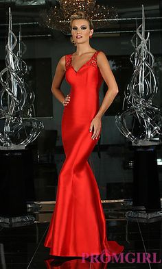 Floor Length Lace Back Trumpet Prom Dress at PromGirl.com without the creepy lace