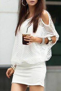 Black/White Off Shoulder Fishnet Blouse And Cami Dress