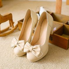 Sweet Womens Mary Jane Bowknot Loafer Candy Girls Chunky High Heel Slip On Shoes