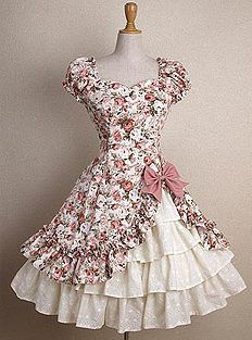 Floral - white/pink, white/blue; Solids - deep purple, frosty pink, frosty blue. Corset lacing in back    LOVE the dress, but the pattern has to go! I see... polka dots, solid, or a custom design.
