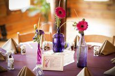 Purple wedding reception tables