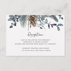 Shop Blue Rustic Floral Wedding Reception & Enclosure Card created by Personalize it with photos & text or purchase as is! Reception Invitations, Blue Wedding Invitations, Beautiful Wedding Invitations, Reception Timeline, Invitation Card Design, Floral Invitation, Wedding Invitation Design, Floral Wedding, Rustic Wedding