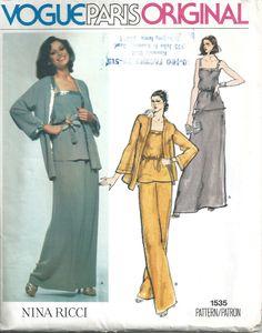 1970s Nina Ricci Vogue Paris Original Jacket Top Skirt Pants Evening Length 1535 Sewing Pattern Bust 34