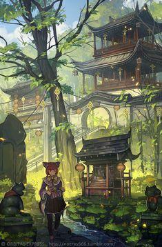 1UPクリエイターセレクションvol.129 - nocras | いちあっぷ Fantasy Landscape, Fantasy Art, Chinese Artwork, Art Manga, Character Design Animation, Environment Concept Art, Anime Scenery, Environmental Art, Asian Art