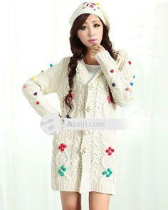AFYY chic mujeres patrón de flores con capucha de ocio Sweaters Tejidos