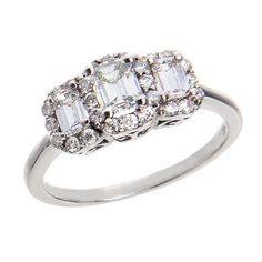 Justice Wedding Collection Three-Stone Halo Diamond Engagement Ring #justicejewelers