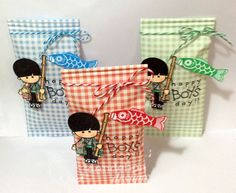 "Boy's Day is coming up fast on May All stamps are from our cling set, ""Boy's Day"" Sorry for the bad pic. Boys Day, Girl Day, Bad Pic, Asian Cards, Dandelion Designs, Crafts For Girls, Deco, Japanese Girl, Gift Bags"