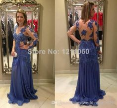 Actual Image Elegant Long Evening Dress 2014 Sheath V-neck Full Sleeve Beading Court Train Blue Chiffon Evening Dresses Fiesta