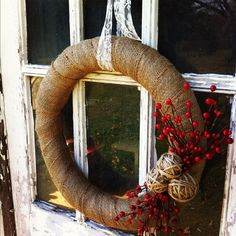 The holiday season presents many news ways to decorate your ceremony and reception sites!  Try the rustic burlap + lace wreath to spruce up entry ways or adorn tables // Found @DownInTheBoondocks on Etsy