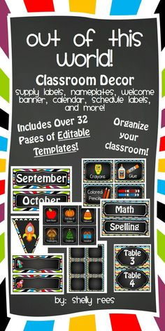 Classroom Decor with EDITABLE templates - Out of This World Theme- Colorful, fun way to decorate and organize your classroom space!  Includes nameplates, bin labels, calendar, schedule labels, and tons more!  Huge amount of EDITABLE templates included!