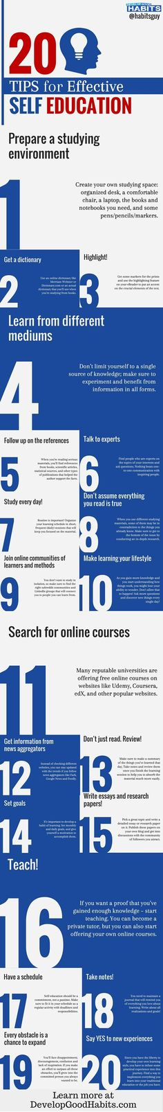 Tips for continuing your self education. Regardless of age! These days self education and growth is a lifelong habit. See some simple tips for getting the most out of time and ongoing education. |  |Learning |Self education | adult learning | continuing education| How we learn