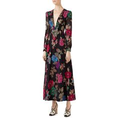 Gucci Flower Garden Fil Coup& Gown (92.850 ARS) ❤ liked on Polyvore featuring dresses, gowns, black, embroidered dress, long sleeve evening dresses, embroidery dress, metallic evening gowns and flower embroidered dress