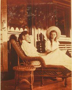 Empress Alexandra Feodorovna of Russia with her eldest daughter Grand Duchess Olga Nikolaevna of Russia. by historyofromanovs