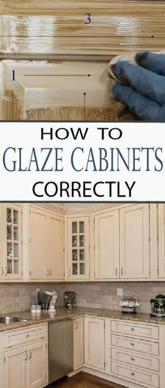 How to Glaze Cabinets Correctly Give your kitchen a whole new look without spending thousands of dollars by glazing your cabinets. Learn how to glaze cabinets correctly now! - Update Your Kitchen Cabinets Glazing Cabinets, Glazed Kitchen Cabinets, Diy Cabinets, Cream Cabinets, Antiqued Kitchen Cabinets, Antique Glazed Cabinets, Painting Laminate Cabinets, Colored Cabinets, Corner Cabinets