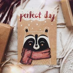 Открытка с енотом - Арт.037 Perfect Day Drawings For Boyfriend, Card Drawing, Cute Animal Drawings, Watercolor Pictures, Boyfriend Card, Baby Art, Christmas Illustration, Funny Cards, Easy Drawings