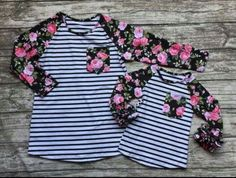 Preorder-Mommy and  me Striped Rose icing Raglan