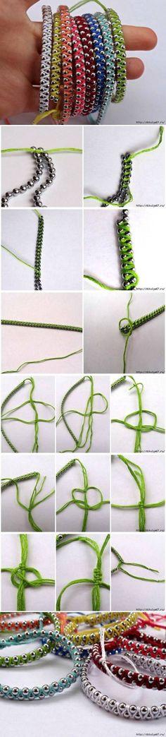 DIY Armbändchen aus Bändern und Kugelketten: