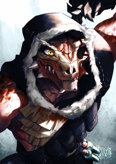 A printed illustration of a red argonian from The Elder Scrolls V: Skyrim game. Fantasy Character Design, Character Creation, Character Concept, Character Inspiration, Character Art, Fantasy Races, Fantasy Rpg, Medieval Fantasy, Dungeons And Dragons Characters