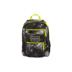 JanSport Big Student Overexposed Black Galaxy (59 CAD) ❤ liked on Polyvore featuring bags, backpacks, black galaxy, black knapsack, black rucksack, neon bag, rucksack bag e black backpack