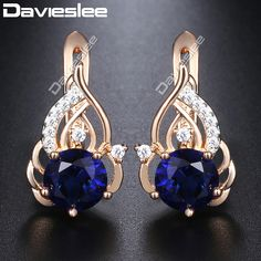 2174f65a1 US $3.09 38% OFF|Davieslee Round Clear CZ Dangle Earrings for Women Cubic  Zirconia 585 White Rose Gold Filled DGE104-in Drop Earrings from Jewelry ...