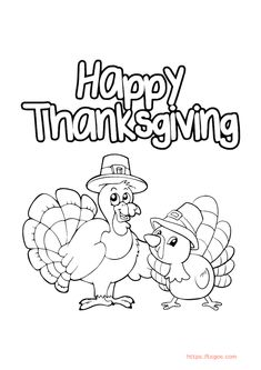 Gobble Gobble Happy Thanksgiving Coloring Page